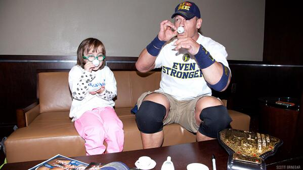 John Cena having a tea party with a girl from @MakeAWish foundation. Respect! http://t.co/9FjejJBDtO
