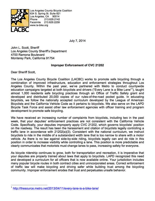 LACBC calls on @LASheriffScott to stop improper CVC21202 citations for riding legally. #bikeLA @LASDHQ @LHSLASD http://t.co/R1Z7xBBEva