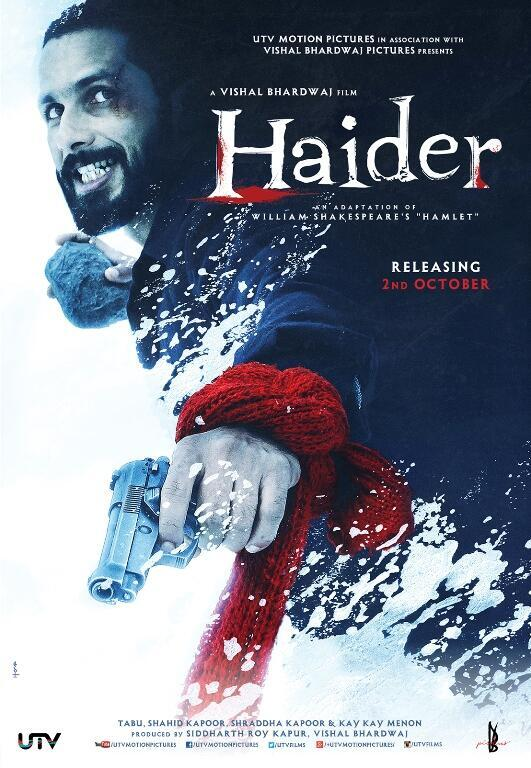 RT @utvfilms Here's a brand new poster for #Haider! Stay tuned for the trailer releasing at 1 pm today! #HaiderPosterpic.twitter.com/J2zOJ5qjD3