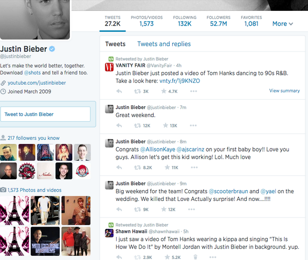 So @justinbieber legit retweeted me a few minutes ago. Bucket list: check. #realtalk http://t.co/8D6QPI6Mqs
