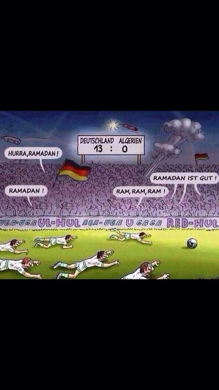 """Racist #GER magazine making fun of Algeria's Muslim players. Classy. """"@tounsiahourra:  #GERALG #WorldCup2014 http://t.co/ooDYCgjOWm"""""""