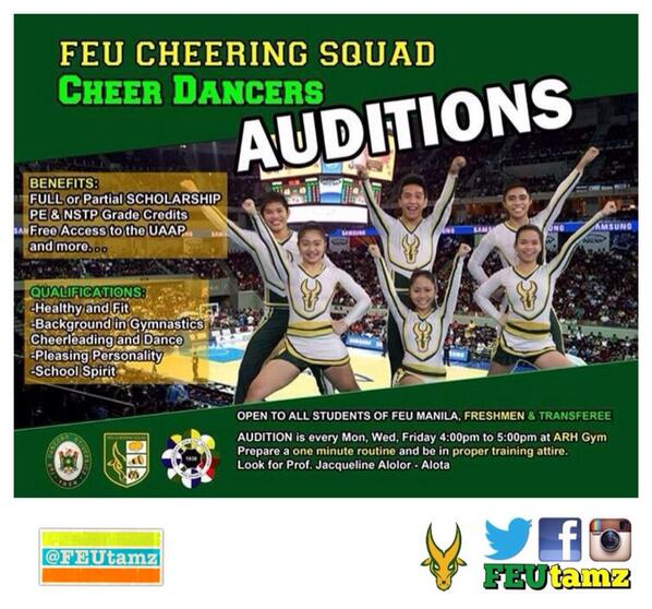 IG FEUtamz On Twitter FEU Cheering Squads Cheer Dancers Audition See Poster For Details 3 Of Tco FasNybFF8G