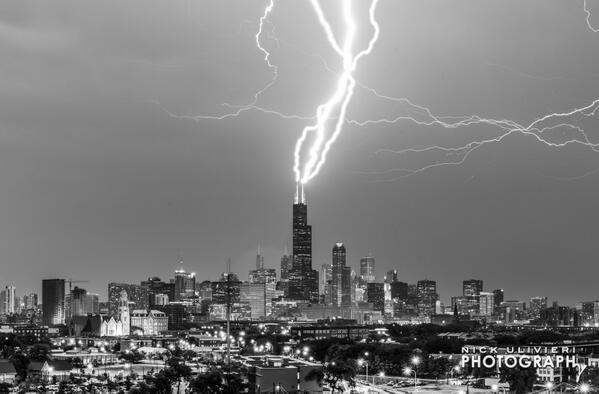 Three strikes and you're out! A composite of 3 separate bolts I caught hitting @SkydeckChicago tonight > http://t.co/sCFxc828kL