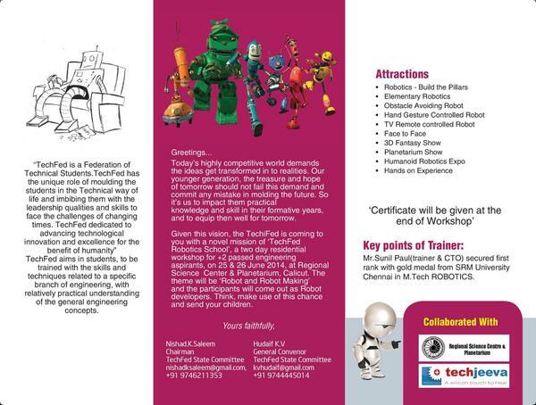 Techfed On Twitter Techfed Robotics School Workshop Brochure Http