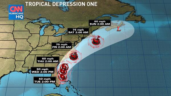 Tracking the 1st tropical depression in the Atlantic for the season, forecasted to become a category 1 hurricane. http://t.co/29FmyPP4P6