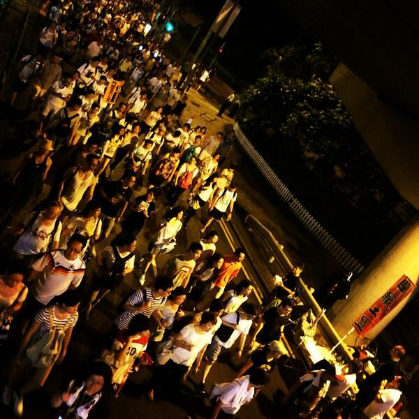 """@clemtan: 9pm, 6 hours later and people are still streaming into Central. #july1hk #71hk #hk #HongKong http://t.co/2Jhirvh8C6"""