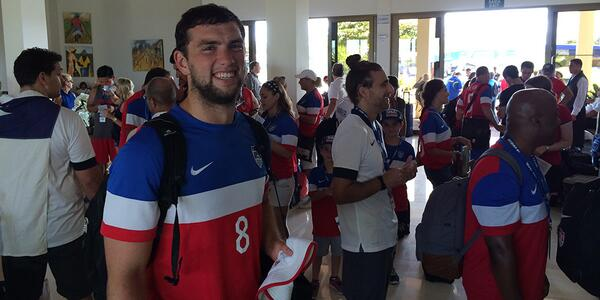 NFL star Andrew Luck was spotted at the USA v Belgium game, one fan thinks hes Michael Phelps [Pictures]