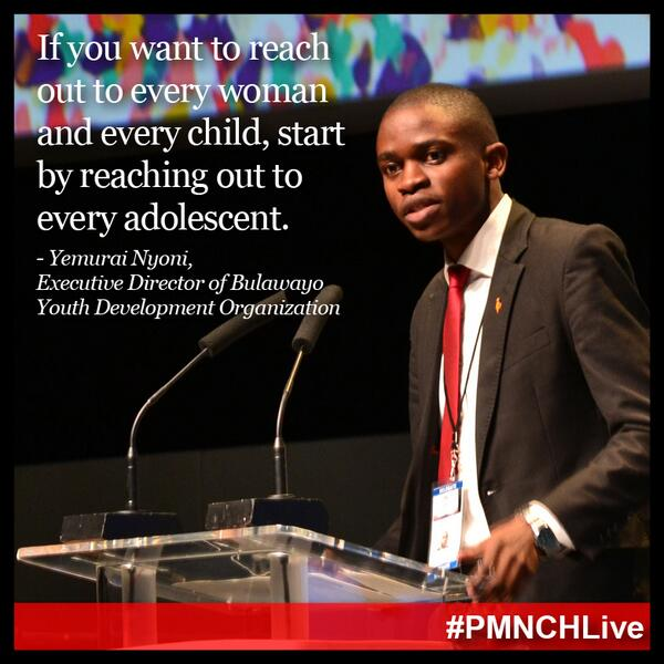 Every young person counts. Young people are at the heart of the #post2015 agenda & world. #PMNCHLive http://t.co/eIdlzE5Z6f