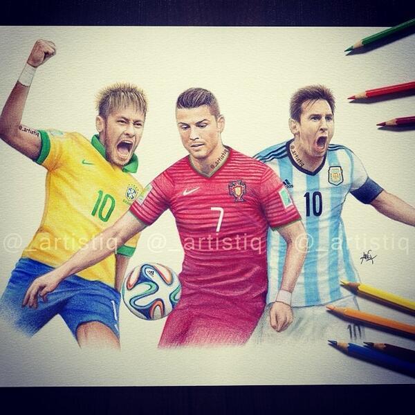 "artistiq on Twitter: ""Neymar, Ronaldo and Messi! Drawn ..."