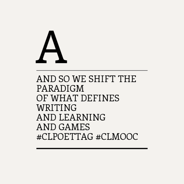 #clpoettag #clmooc via @m_mcneal We shift the paradigm... https://t.co/7V7NNZAfIy http://t.co/VbC3EBhukr
