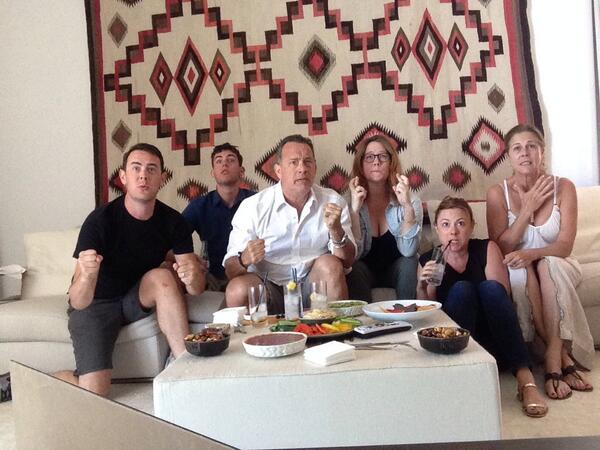 @ColinHanks @tomhanks @eahanks watching USA vs Belgium #WorldCup2014 http://t.co/0qLI7cf7iV