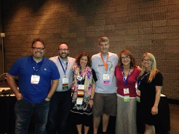 Happy I was able to see this crew! @jessievaz12 @kylepace @adambellow @KleinErin @michellek107 #iste2014 http://t.co/Ale8FBpOeE