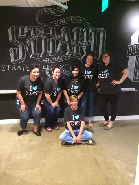 The Community Management crew @TeamDetroit showing off our fab new t-shirts. Thanks #TwitterDetroit &  @CRumminger! http://t.co/s2ZV502rE9