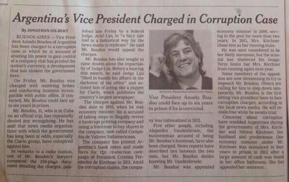 Un orgullo!! El New York Times le dedicó media página al vicepresidente de todos los argentinos... http://t.co/je5LrFP3QT
