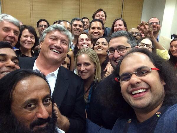 Inspired by @TheEllenShow here's a #selfie with @emmaseppala and @SriSri and a lot of wonderful people... http://t.co/od7zZwSGIQ