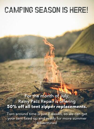 50% off all tent zipper replacements for the month of July! Call for more information. http://t.co/faMtXHuyad http://t.co/A6NuX9P3t0