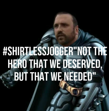 "@jimmykimmel #ShirtlessJogger- ""Not the hero we deserved, but the one that we needed"" #Onpoli #RobFord #Toronto http://t.co/mW3au93TqG"