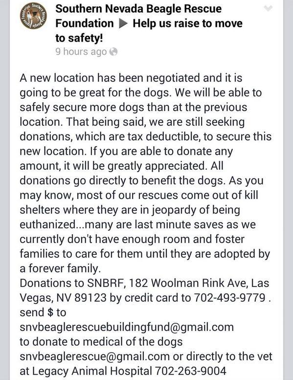 #Vegas #Beagle Rescue @snvbeaglerescue needs help, please #RT! #LasVegas #charity #donate http://t.co/z7jZJFURFQ http://t.co/2kUiRTmO5G