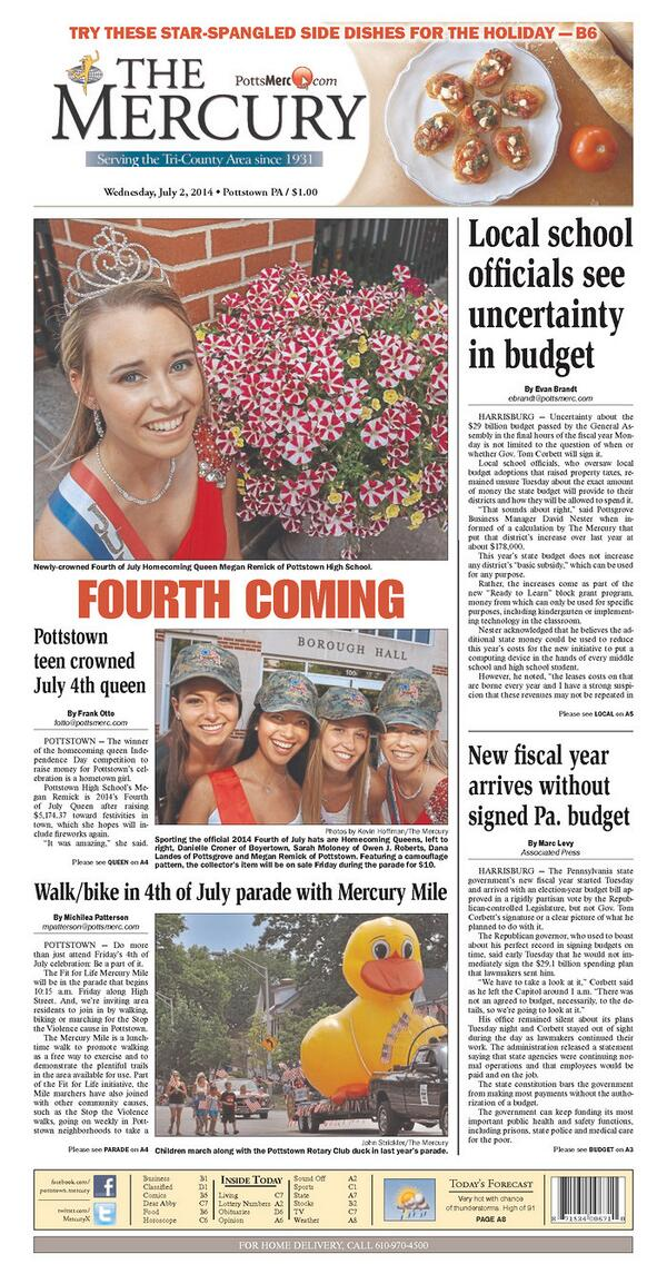 Today's @MercuryX has July 4th recipes, Queens & an invitation to join The Mercury Mile as part of Friday's parade, http://t.co/rx8tEz20ge