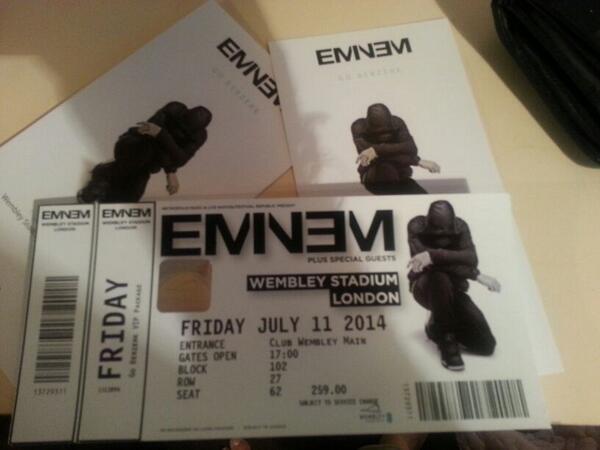 Puneet on twitter 4 eminem vip tickets for wembley 11th july puneet on twitter 4 eminem vip tickets for wembley 11th july 300 a ticket message me for more information httptu2w9chytzf m4hsunfo Images