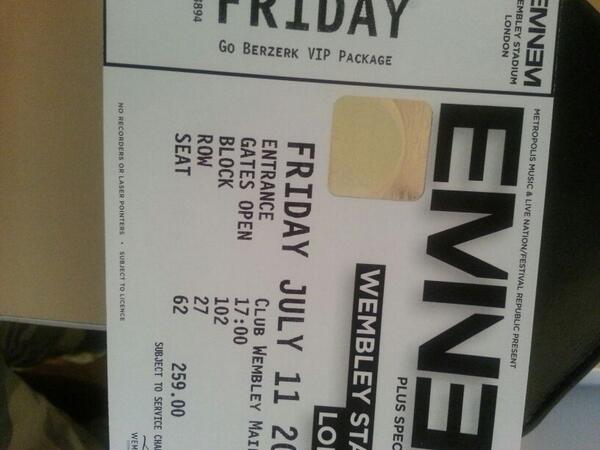 Puneet on twitter 4 eminem vip tickets for wembley 11th july puneet on twitter 4 eminem vip tickets for wembley 11th july 300 a ticket message me for more information httptu2w9chytzf m4hsunfo