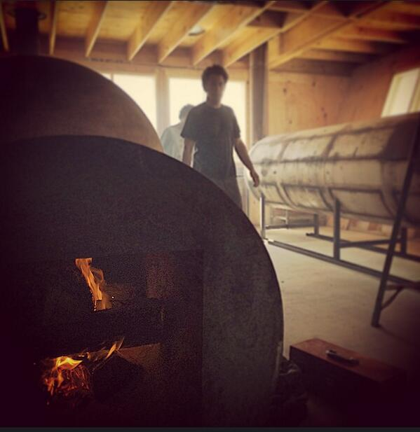 First fire in the new smokehouse.  Re-opening July 8! http://t.co/KQrrKG7emz