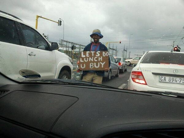Creativity in the traffic in Cape Town. Hopefully there was a good response. Picture by @IanBredenkamp http://t.co/ufzLma55xY