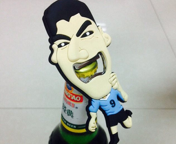 It really exists! The Luis Suarez bottle opener goes on sale in China