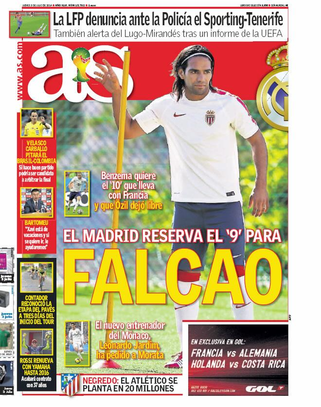 Real Madrid close ranks on future number 9 Radamel Falcao, as interest in Liverpools Suarez dissipates [AS]