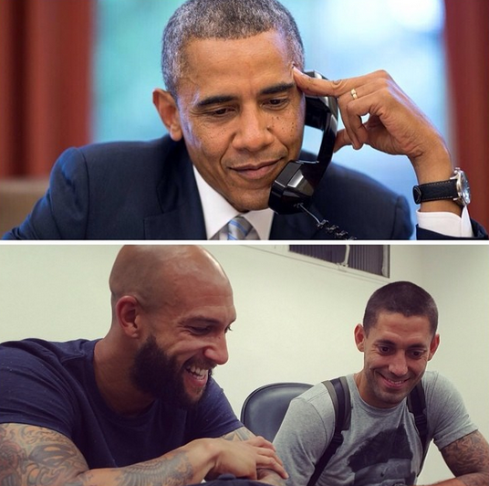Watch the footage as President Obama called up Team USA stars Tim Howard & Clint Dempsey [Video]
