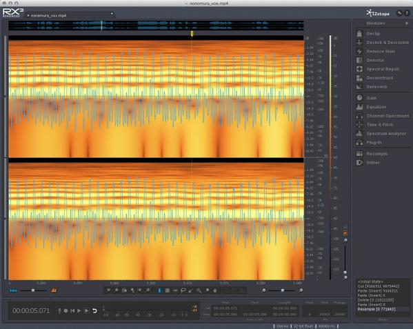 野々村議員の叫びをちょっと解析してみたけど、以外と倍音成分が多かったのでブラス系音色に使えそう!低音で鳴らして高次倍音強調すれば鋸波ベースにもイケそうな予感。応用が利くマルチ素材。 http://t.co/Kzib2LgErX
