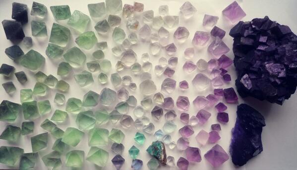 昼間のつづきで、蛍石カラーチャート http://t.co/ztSaDwN600