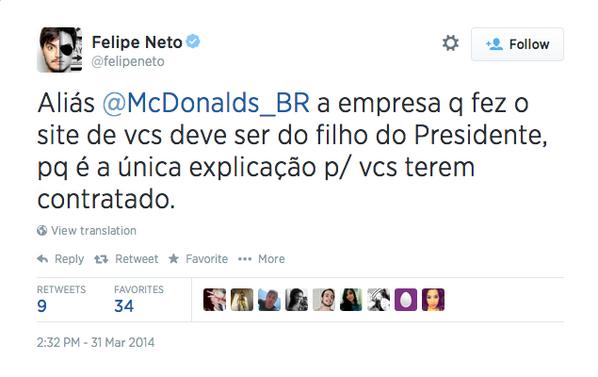 Felipe Neto reclamava do @McDonalds, até receber uma boiada: http://t.co/ok2E4aXpGo Essa é a mídia cidadão que quer substituir a Globo?