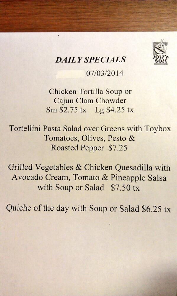 Todays lunch menu. Have a safe 4th of July. http://t.co/GNYHamfatI