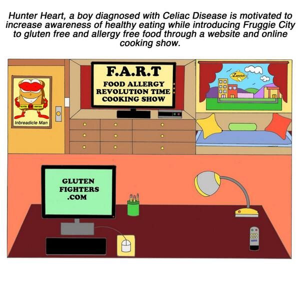 Hunter Heart uses a cooking show called Food Allergy Revolution Time aka FART #glutenfree #lifestyle #animation http://t.co/mtxwfqSNX2