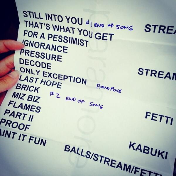 "Paramore Fans lll on Twitter: ""Today's setlist # ... Paramore Setlist"
