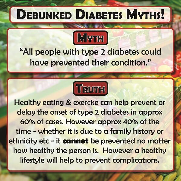 "MYTH: ""All people with type 2 #diabetes could've prevented it"" Find out the truth on this common myth! #dstigma http://t.co/pCT4ApAjfp"