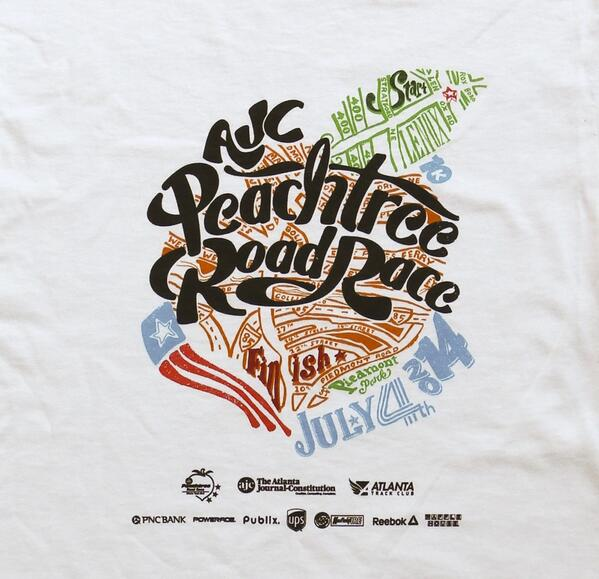 BEHOLD! This year's AJC Peachtree Road Race winning t-shirt design! http://t.co/synPZntXuL