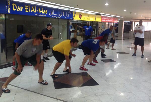With an adjacent mall quiet during daylight hours due to Ramadan, #USNFT use some open space for a quick walk through http://t.co/bSQfGeylm4