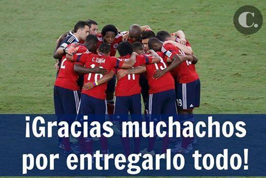 ¡Gracias muchachos! Fue algo histórico y no lo olvidaremos @FCFSeleccionCol #COL http://t.co/2eLu27MxN3
