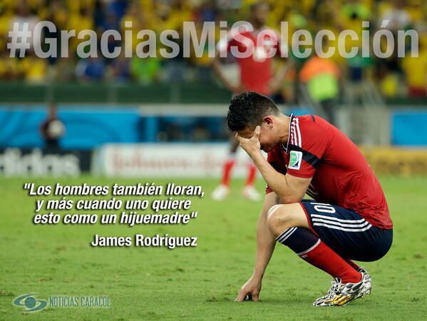 James: gracias a tus jugadas muchos hombres y mujeres también lloramos.... de felicidad #GraciasMiSelección http://t.co/r7txr9Vq8I