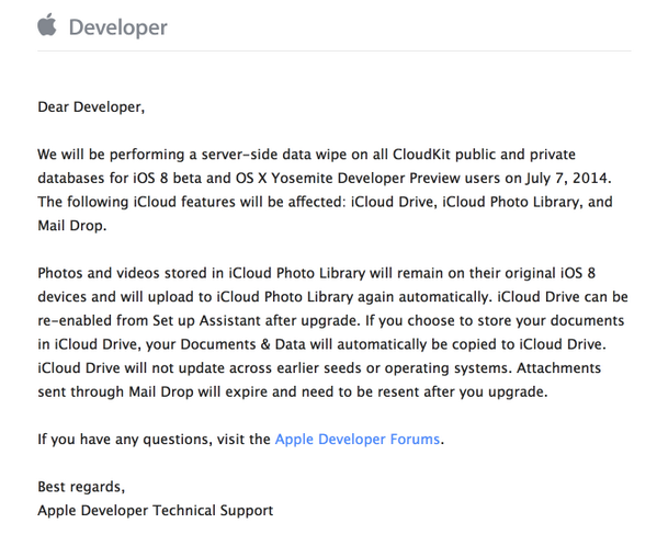 email ios 8 beta 3 developers