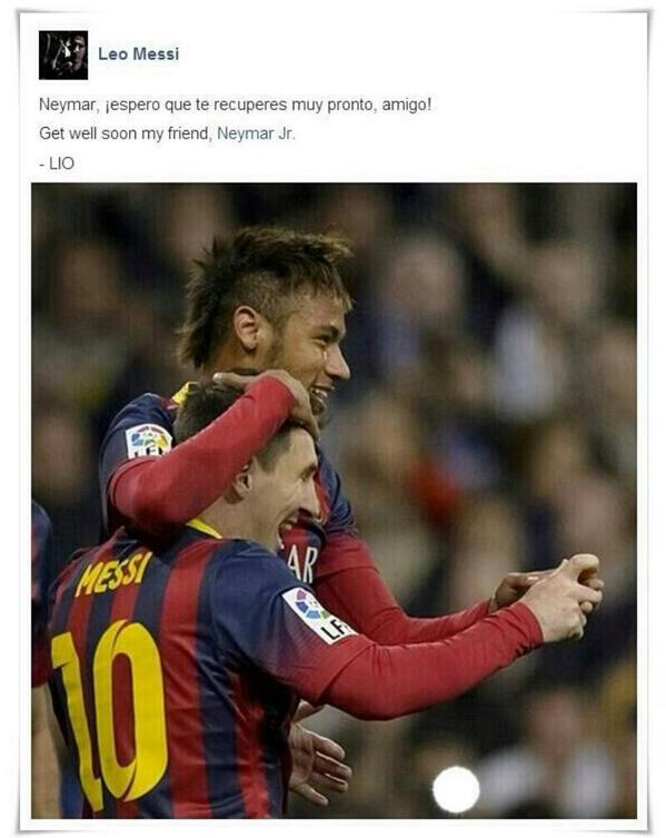 Lionel Messi, Mesut Özil, Mario Balotelli, Falcao & more wish Brazils Neymar well after injury ends his World Cup