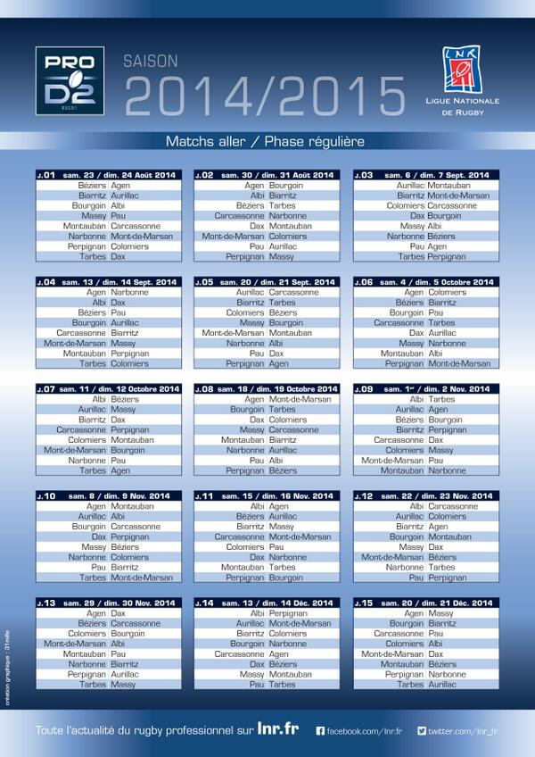 Calendrier Pro D2 2014-2015
