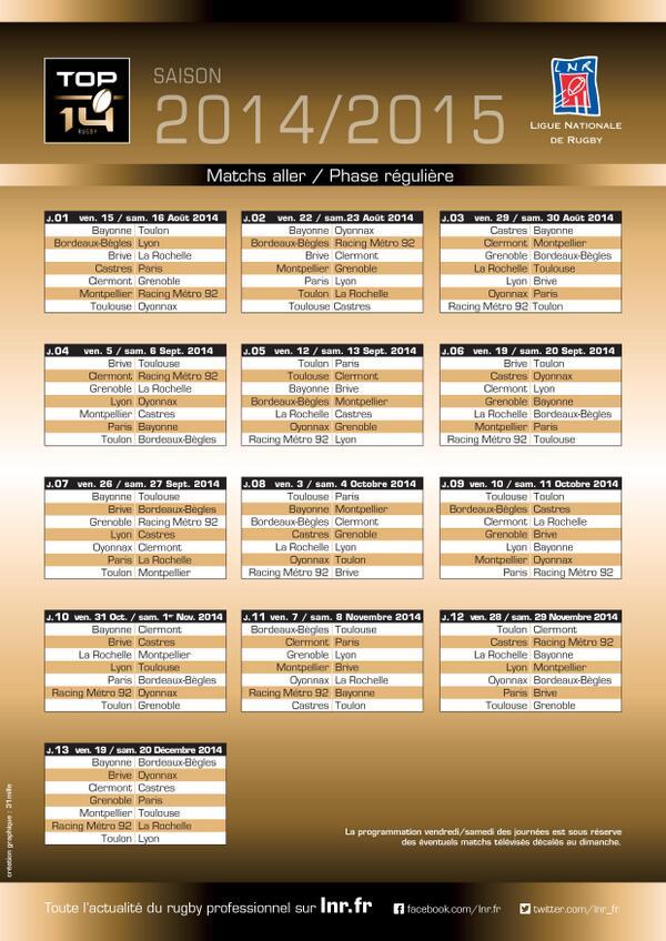Calendrier Top 14 2014-2015