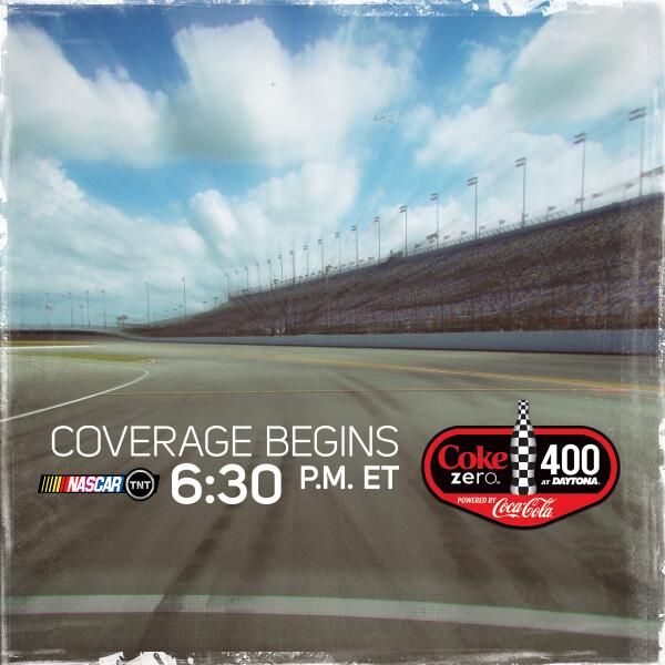 It's RACE DAY!  The #CokeZero400 starts with Countdown to Green at 6:30pm ET on TNT. #NASCAR http://t.co/cV0OEmDDOH