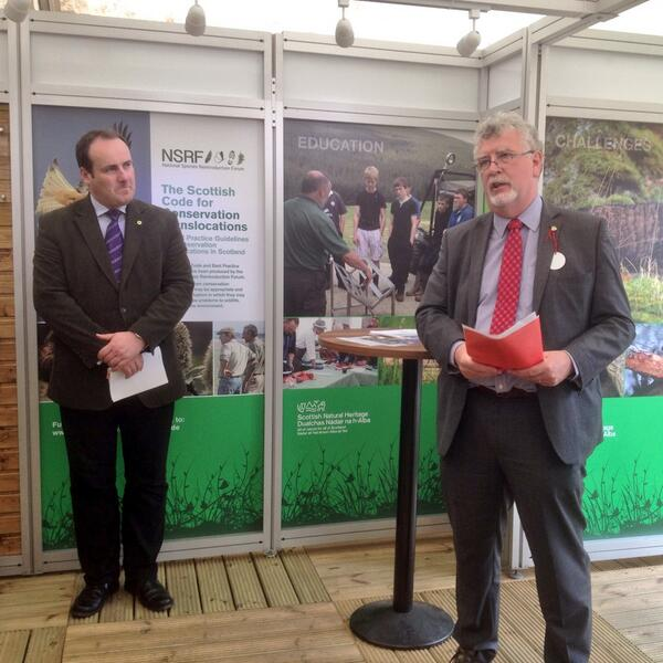 @SNH_Tweets Ian Ross with @PaulWheelhouse launching #nsrf Scottish Code on Conservation Translocations @ScotGameFair http://t.co/2FI7KboLyz