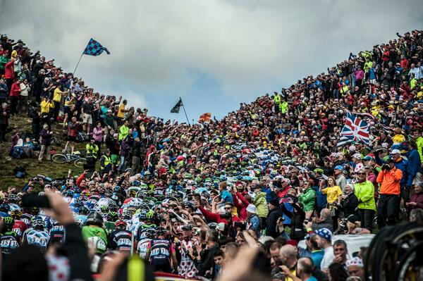 """@liverpoolmerc: peloton winds its way through the massive crowds on Cote de Buttertubs today http://t.co/Oxjeu1zg9k <==Great pic James!"