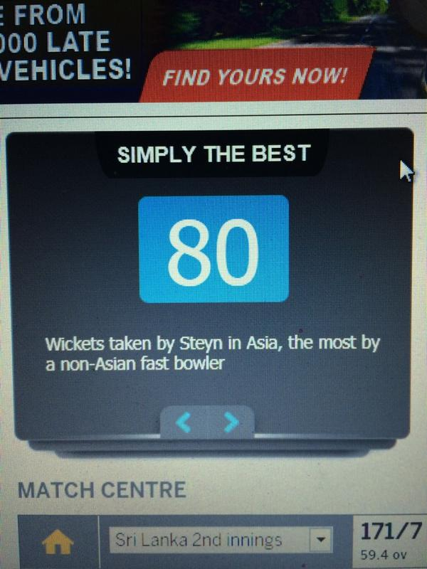 Stat from @cricinfo_news @DaleSteyn62  continues to prove why he is #1 in the world. http://t.co/autHWhp0Jc