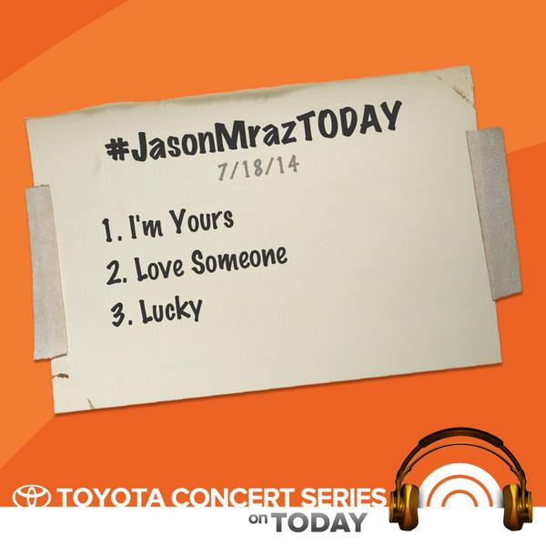Less than 30 mins until @jason_mraz performs for Toyota Concert Series. Check out setlist for #JasonMrazTODAY! <br>http://pic.twitter.com/4CjcYNSLl2